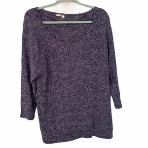 Gap Blue Heathered Stretchy Slouchy Sweater Large